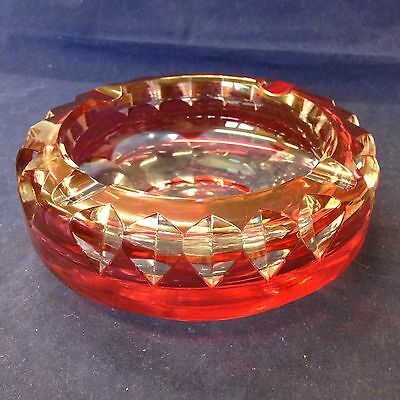 Vintage Cranberry And Clear Glass Ashtray By Val St Lambert Signed To Base