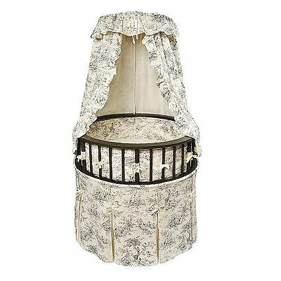 Badger Basket Black Round Baby Bassinet - Black Toile Bedding