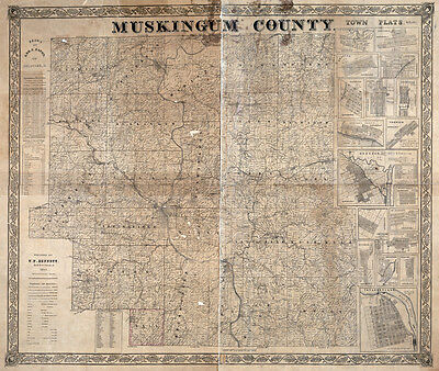 1852 Farm Line map of Muskingum County Ohio Zanesville