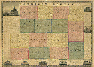 1862 Farm Line Map of Harrison County Ohio Cadiz