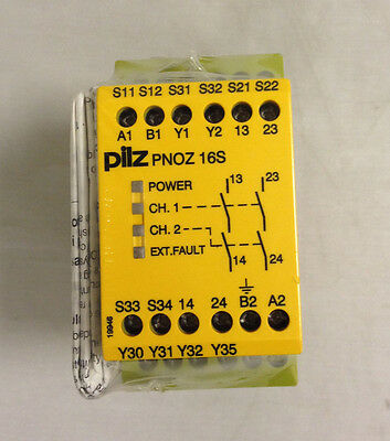 Pilz Safety Relay Pnoz 16S 110Vac 24Vdc 2N/o 2So Dual Channel - New Old Stock
