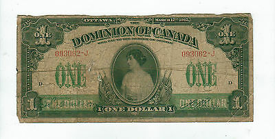 1917 $1 Note - Good to VG - Dominion of Canada - Hole - Ottawa - Patricia Note