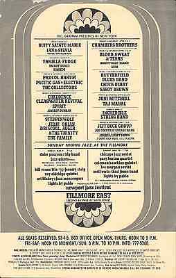 Vanilla Fudge Jeff Beck Joni Mitchell BS&T Fillmore East Concert Handbill 1969
