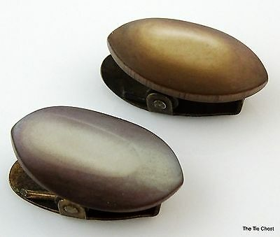 Pair of Antique Edwardian Napkin Clips Gray Mother-of-Pearl Mop Oval Small