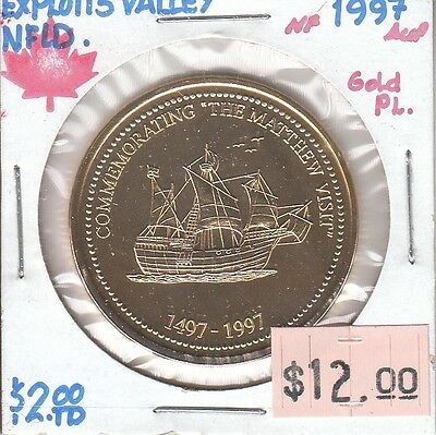 Exploits Valley Newfoundland Canada - Trade Dollar - 1997 Gold Plated