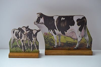 VINTAGE LOOK Stand-Up Barnyard Farm Animal Holstein Friesian Cow and Calves NWT