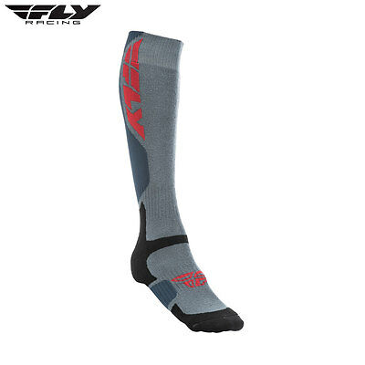 New Fly Adult L/XL UK 9-12 Socks MX Pro Thick Motocross Enduro Grey/Black
