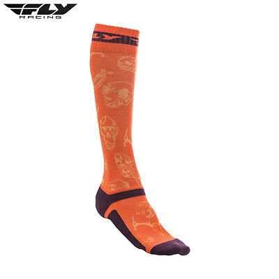 New Fly Adult S/M UK 6-9 Socks MX Pro Thin Motocross Enduro Orange/Purple
