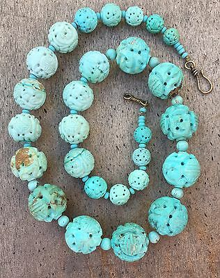 """Antique Carved Chinese Turquoise Shou Beads Graduated Necklace 25"""" Long"""