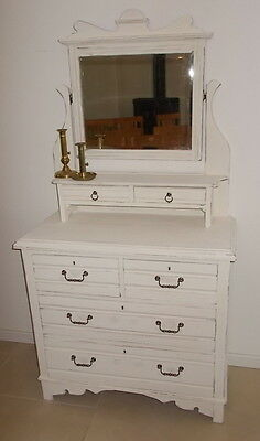 antique dressing table, mirrored dressing chest, painted dressing table