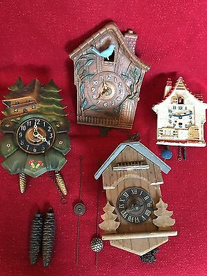 BOX LOT 4 Antique German Novelty Black Forest Carved Cuckoo Clock Repair Parts