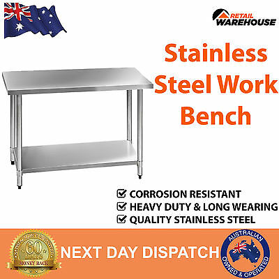 New Stainless Steel Kitchen Work Bench Benchtop Commercial Table 1219mm