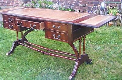 Vintage Beige Leather Topped Writing Desk with Drop Leaf Ends and Five Drawers