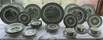 35 Pcs Royal China Usa Old Curiosity Shop Dinner Set +More Green Transfer Retro