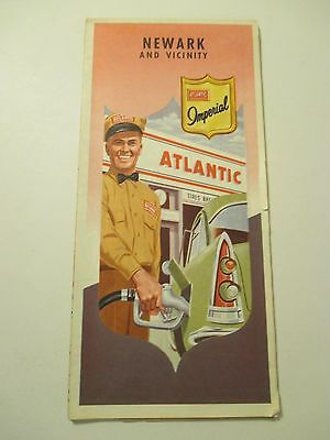 Vintage ATLANTIC NEWARK NEW JERSEY Oil Gas Service Station CITY Road Map