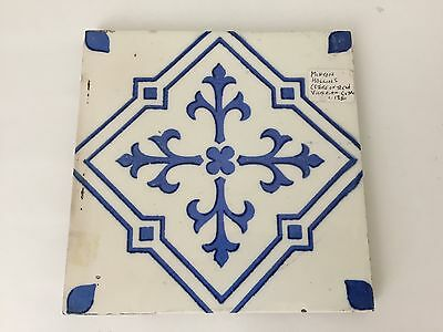 Antique Minton Hollins England Blue & White Geometric Tile (S2)