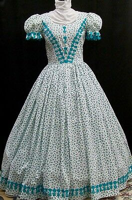 Civil War or Victorian White Background Print Teal Floral & Lt. Green Day Gown