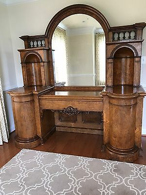 English Antique Side Board, Pollard Oak,  Mirror-backed – Victorian - Circa 1850