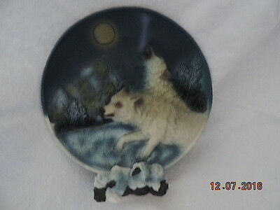 Wolf 3D Plate with stand-all ceramic-new-5.5""