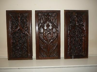 A Set Of Three 16th Century French Walnut Carved Gothic Panels