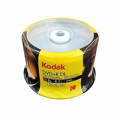 50 KODAK 8X Blank DVD+R DL Dual Double Layer Logo Branded 8.5 GB Media Disc