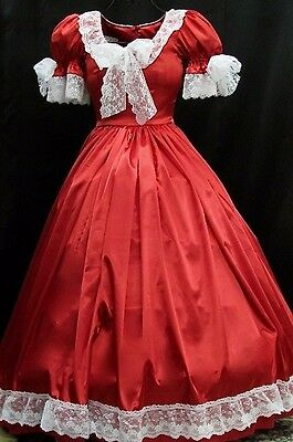 """Civil War or Victorian Flowing Red Satin Ball Gown with 3"""" White Lace trim"""