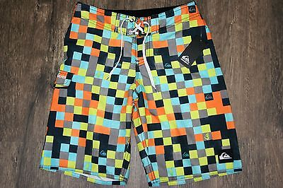 BOYS QUIKSILVER Shocking Orange Mini Check BoardShorts Trunks-Size 25 12 NEW-NWT