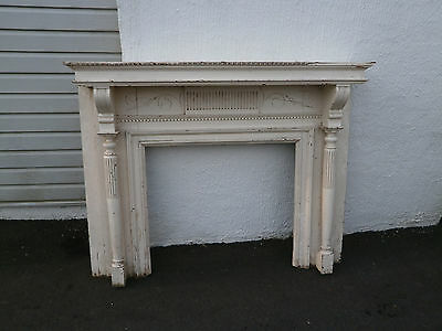 Original Vintage Antique Wood Fireplace Mantle White Over Mahogany