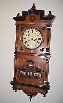 Rare 1895 German Junghans Walnut Calendar Wall Clock w/ Appraisal - Antique