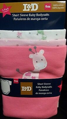 L&D 3 Pack, Short Sleeve, 100% Cotton, Baby Body Suit (Onsies) 9mo, Pinks