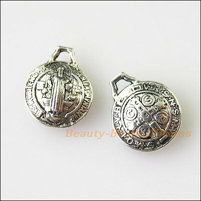 12 New Jesus Cross Round Tibetan Silver Tone Charms Pendants 9.5x12mm