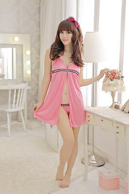 New Womens Lingerie Babydoll Dress With G String Pink Satin Smooth  #121