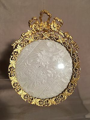 Antique Vintage Gold Gilt Picture Frame Convex Curved Glass Near Mint!!!
