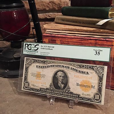 Fr.1173 1922 $10 GOLD certificate, PCGS VF35!!! EXCELLENT NOTE!!