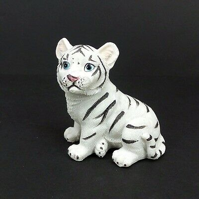 """Small White Tiger Figurine 2.5"""" Tall Wild Cat Collectible Statue A"""