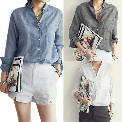 Blouse Women's Shirts Long Tops Sleeve New Linen Hot Casual Button-down