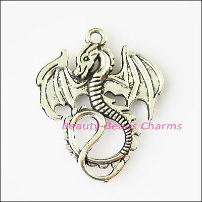 3 New Flying Wings Dragon Tibetan Silver Tone Charms Pendants 27.5x34.5mm