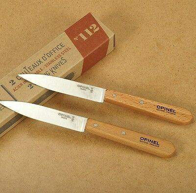 "Opinel Set of 2 Paring Knives Stainless Steel 3.94"" Blade Hard Beechwood Handle"