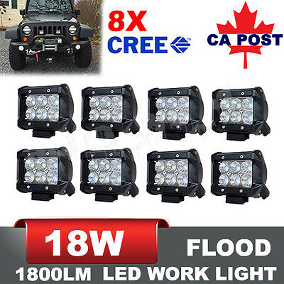 8Pcs 4inch 18W Flood CREE LED Work Lights Bars Offroad 4WD Fog ATV Driving Lamps
