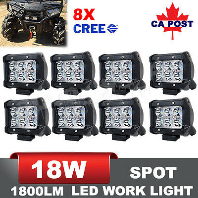 8PCS 4inch 18W CREE LED Spot Work Light Bar Offroad 4WD Fog ATV SUV Driving Lamp