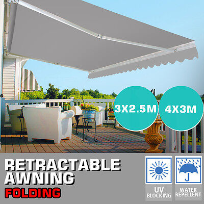 Manual Patio Retractable Deck Awning Sunshade Shelter Canopy Outdoor UV Cover