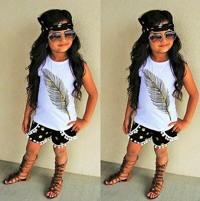 3PCS Toddler Baby Kids Girls Clothes Vest Tops Shorts Pants Headband Outfits Set