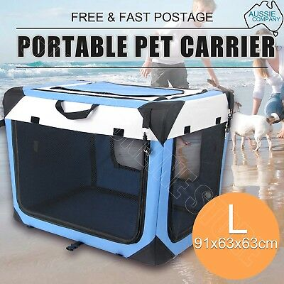 Portable Pet Carrier Crate Dog Cat Soft Travel Fold Cage Kennel Wood Base Large