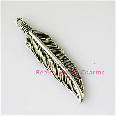 4 New Feather Leaf Tibetan Silver Tone Charms Pendants 10.5x42mm