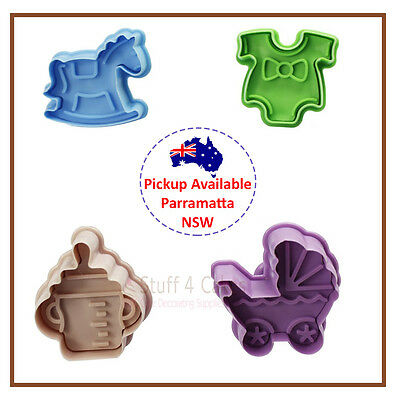 4 Piece Baby Toys Cookie Cutter Biscuit Fondant Cake Decorating Horse Pram