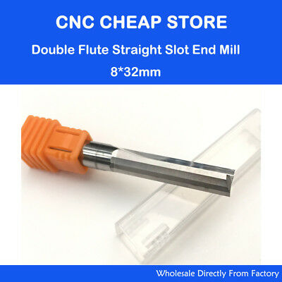 Double Two Flute Straight Slot CNC Router Bits Wood MDF Milling Cutter 8*32mm