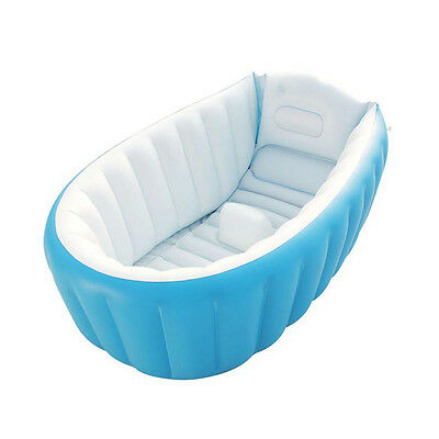 Portable Safe Baby Kids Toddler Summer Thick Inflatable Bath Tub Blue