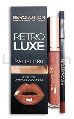 100% Genuine Makeup Revolution Retro Luxe Lip Kit Matte Liquid Lipstick Noble