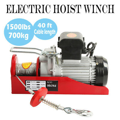 1500lb Mini Electric Wire Cable Hoist Winch Crane Lift Overhead + Remote Control