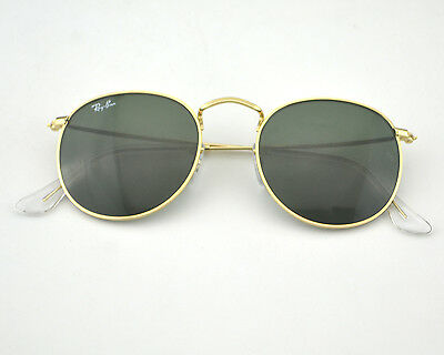 Ray-Ban RB3447 Round Metal Gold Frame/ Green Classic G-15 Lens Sunglasses 50mm